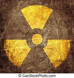 sinal, radiação, grunge, parede
