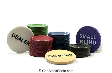 poker chips - poke chips with the deal and small and big...