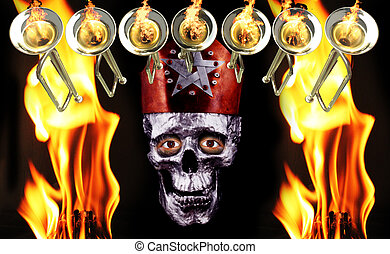 7 trumpets with fire flames and a human silver skull