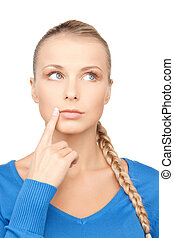 pensive woman - bright closeup picture of beautiful pensive...