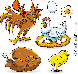 Chicken Collection - cartoon illustration of chicken set...
