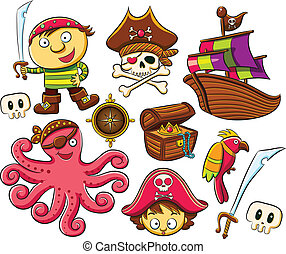 Pirate Collection Set - cartoon illustration of funny and...