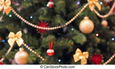 rack focus christmas lights background