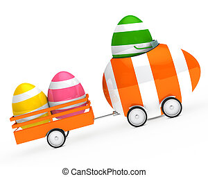 easter egg figure with car and trailer