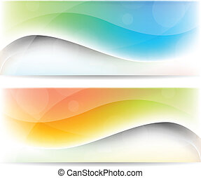 Set of banners - Abstract color set of banners with waves
