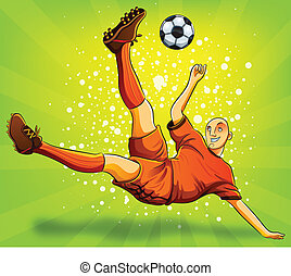 Soccer Player Flying Shooting a Bal - cartoon illustration...