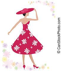 summer dress - an illustration of a woman wearing a...