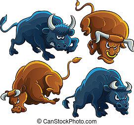 Angry Bulls - cartoon illustration of angry bulls