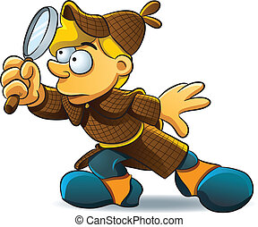Detective Investigate - cartoon illustration of young...
