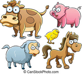 Baby Animals Collection - cartoon illustration of farm baby...