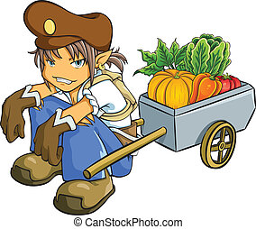 Merchant Selling Vegetables - cartoon illustration of...