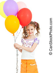 girl with colorful ballons in hands Isolated on white - Two...