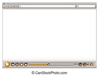 Web video browser controls - Blank internet web browser with...