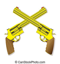 Old gold handgun - Old fashioned golden hand guns crossed...