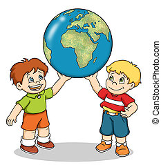 children with world map - colored illustration of two...
