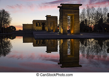 temple of Debod - The egyptian temple of Debod in Madrid,...