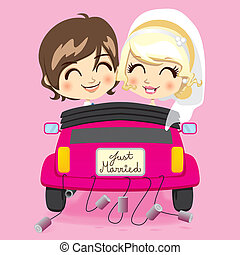 Just Married Couple - Groom and bride driving a pink...