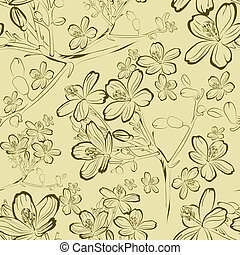 Pattern with spring flowers leafs - Vector seamless floral...