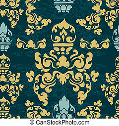 Cambodian floral pattern - Vector seamless Cambodian floral...