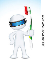 3d Man in Vector with Tooth Brush - illustration of 3d...