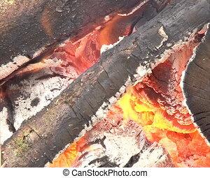 closeup fireplace smoke