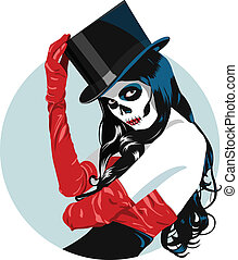 Vector Sugar Skull girl in top hat and red dress