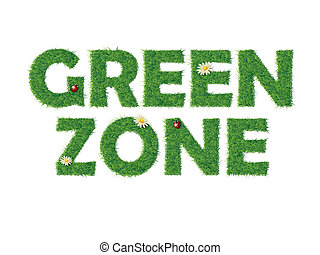 Green zone text with grass