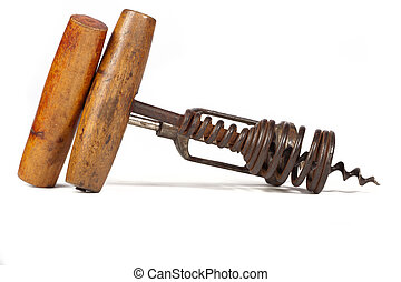 Two old corkscrews on white background