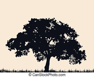 Silhouette of tree with grass Vector illustration