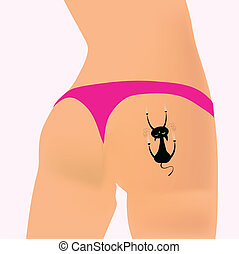 cat vector illustration on the girl ass