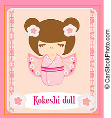 Kokeshi doll on the pink background with floral ornament