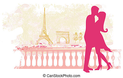 Romantic couple in Paris kissing near the Eiffel Tower Retro...