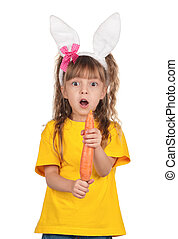 Little girl with bunny ears - Portrait of surprised little...