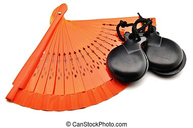 Fans of flamenco and castanets - Ornaments made by fans of...