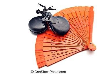 ventilateurs, flamenco, Castagnettes