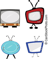 retro tv's - television images from a day gone by vector...