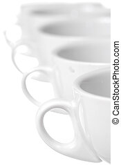 Row of  Coffee Cups on White Background.
