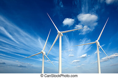 Wwind generator turbines in sky - Green renewable energy...
