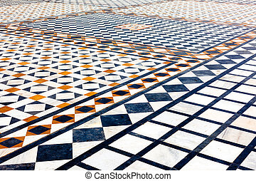 Marble ornamented pavement in gurdwara Gwalior fort, Madya...