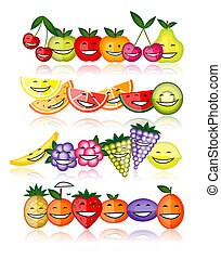 Funny fruits smiling together for your design