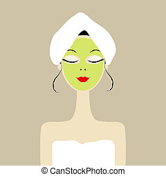 Pretty woman with cosmetic mask on face