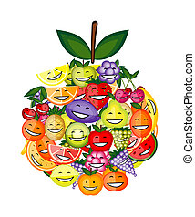 Funny fruit characters smiling together, apple shape for...