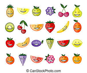 Funny fruit characters smiling for your design