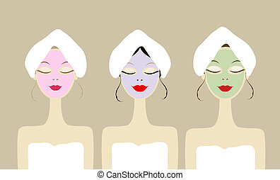 Pretty women with cosmetic mask on face