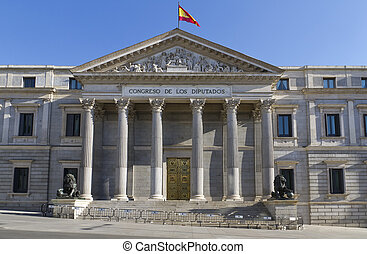 Spanish congress in Madrid - The sculpture of lion 1860...