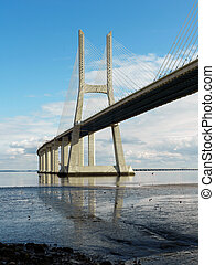 The Vasco da Gama Bridge is a famous sight in Lisbon...