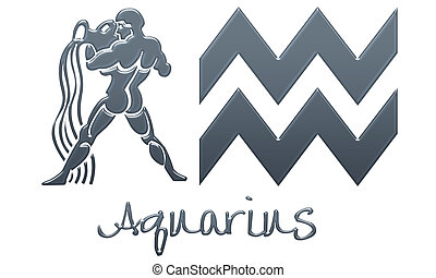 Aquarius Signs - Navy Plastic - zodiac signs