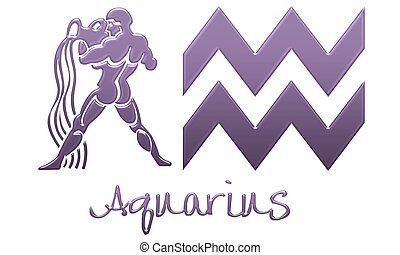 Aquarius Signs - Purple Plastic - zodiac signs