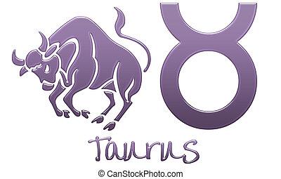 Taurus Zodiac Signs  Purple Plastic - zodiac signs