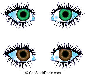 Eyes Colored Green Brown - Illustration vector Eyes Colored...